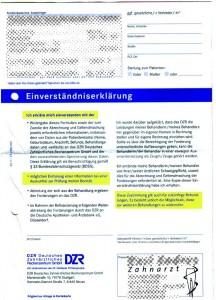Einverständniserklärung des DZR Deutschen Zahnärzlichen Rechenzentrums
