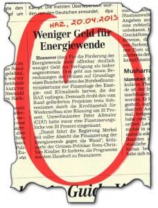 HAZ-Notiz: Die Regierung Merkel fährt mit voller Absicht die Energiewende gegen die Wand...