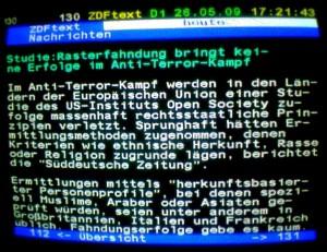 Foto Teletext-Nachricht von 2009